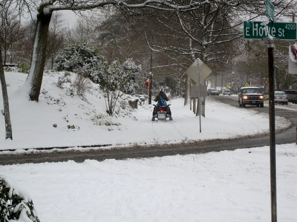 Snowmobile in Madison Park